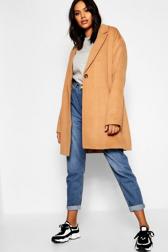 Camel Button Wool Look Coat
