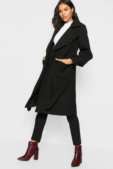 Womens Black Oversized Sleeve Wool Look Coat