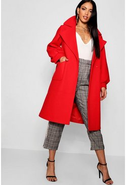 Womens Poppy Oversized Sleeve Wool Look Coat