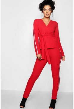 Red Sports Stripe Belted Trouser Co-ord Set