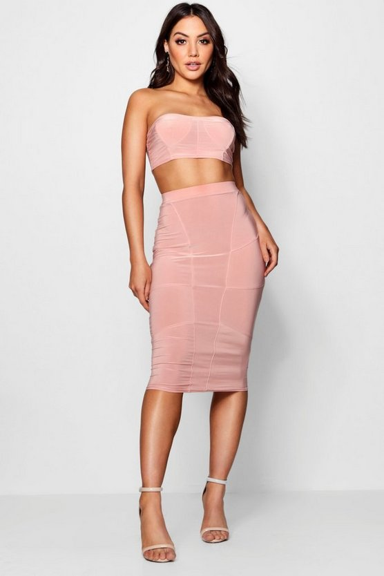 Womens Rose Slinky Seam Detail Bodice Skirt Co-ord Set