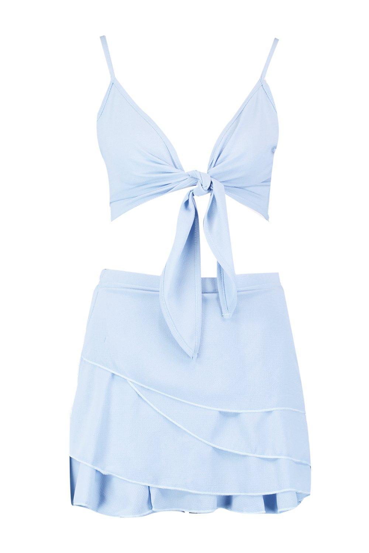 blue volante top con atado y falda Conjunto de pantalón pastel zwqY0xT75p