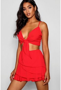 Womens Red Frill Skort Tie Top Co-ord Set
