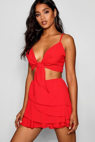Red Frill Skort Tie Top Co-ord Set