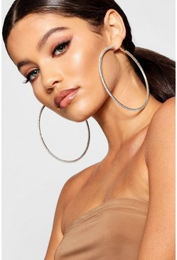 Womens Silver Oversized Diamante Statement Hoops