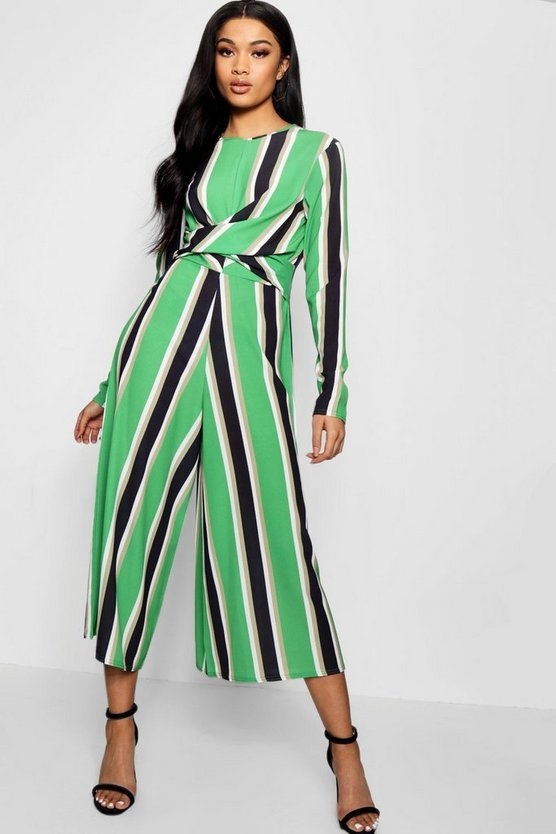 Womens Green Striped Twist Front Culotte Jumpsuit