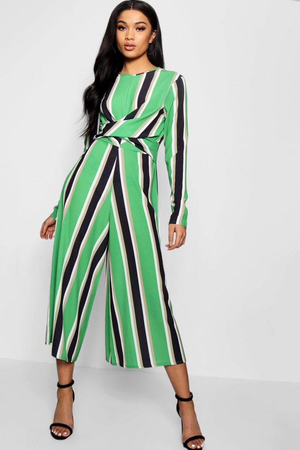 b9b87b5284ef Striped Twist Front Culotte Jumpsuit
