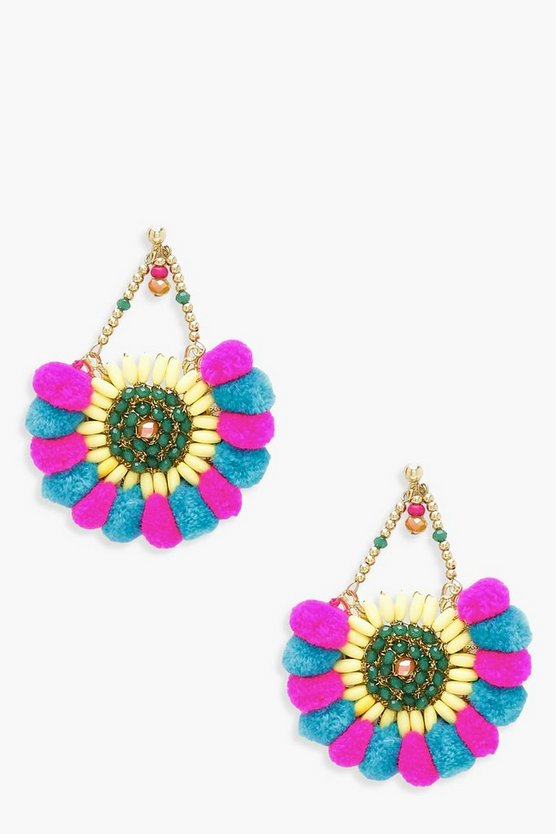 Pom Pom & Bead Statement Earrings
