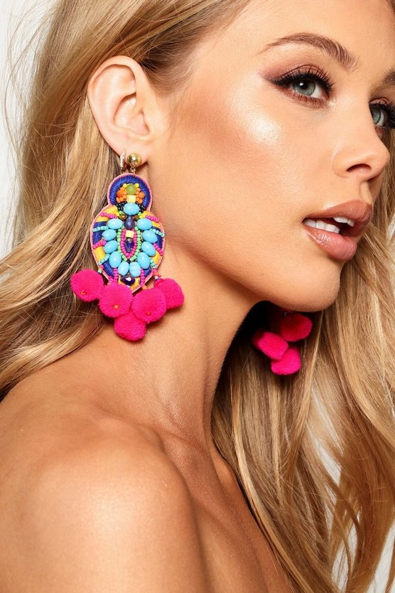 Multi Pom Pom & Bead Statement Earrings