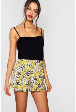 Womens Yellow Floral Flippy Shorts
