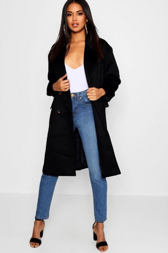 Womens Black Brushed Wool Look Double Breasted Coat