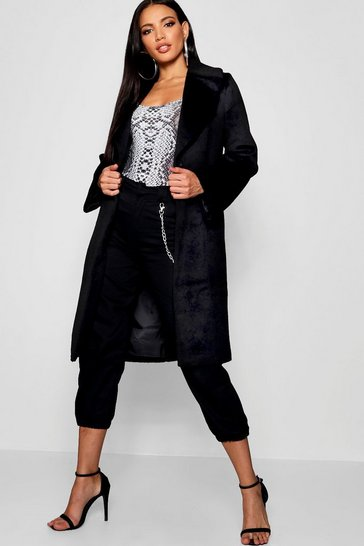 Womens Black Oversized Brushed Wool Look Coat