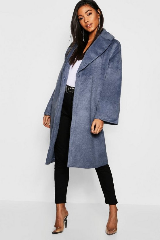 Womens Blue Oversized Brushed Wool Look Coat