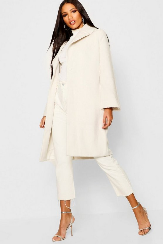 Womens Cream Oversized Brushed Wool Look Coat
