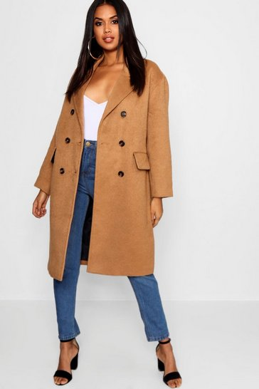 Womens Camel Brushed Wool Look Double Breasted Coat
