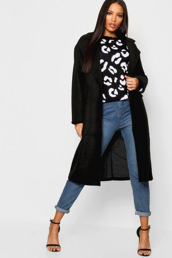Womens Black Oversized Collar Coat