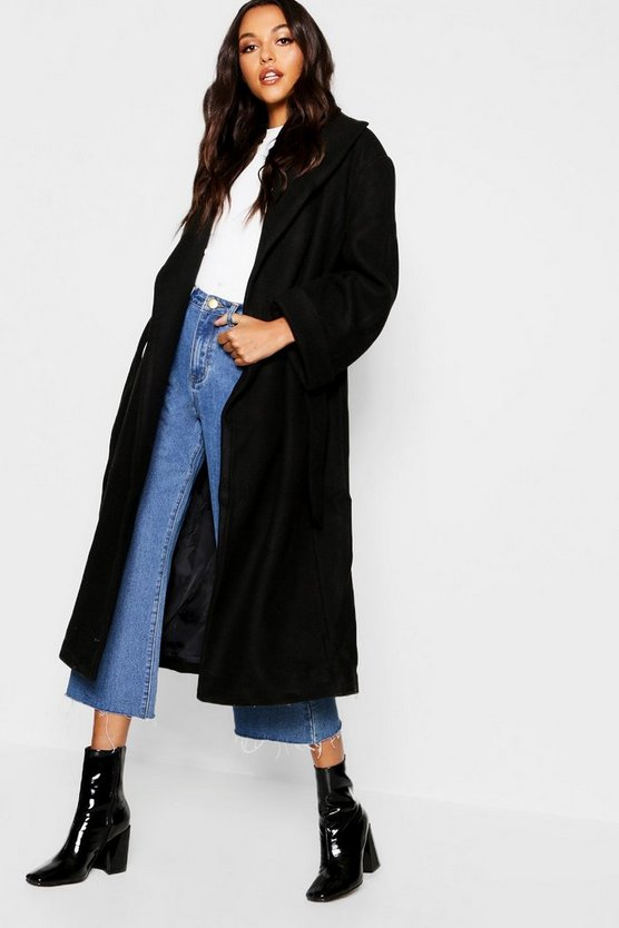 Womens Black Oversized Belted Robe Coat