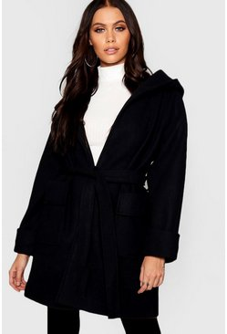 Womens Black Belted Hooded Coat