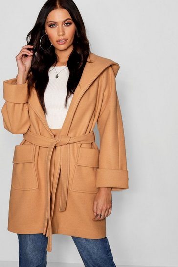 Womens Camel Belted Hooded Coat