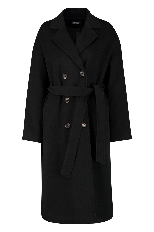 doble con botonadura y cinturón Abrigo negro IaHgxH4