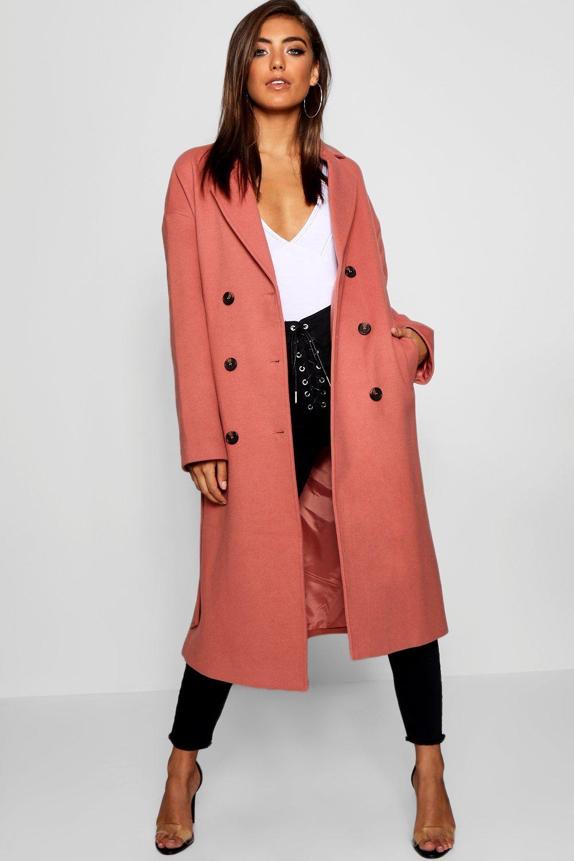 cinturón botonadura Abrigo con doble rosa y pálido z5xOw