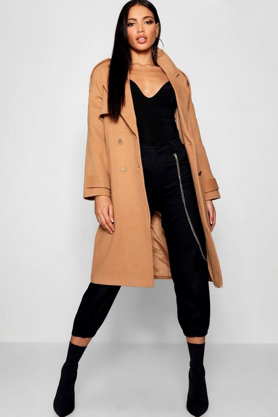 Belted Double Breasted Wool Look Trench
