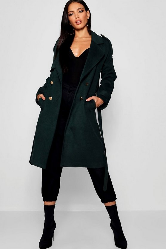Womens Midnight green Belted Double Breasted Wool Look Trench