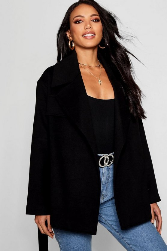 Womens Black Short Belted Wool Look Coat