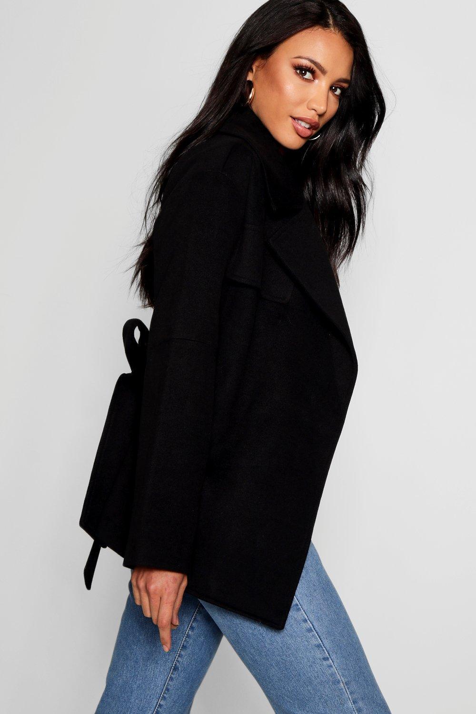 Abrigo negro y efecto con corto cinturón rwffnq0aZ