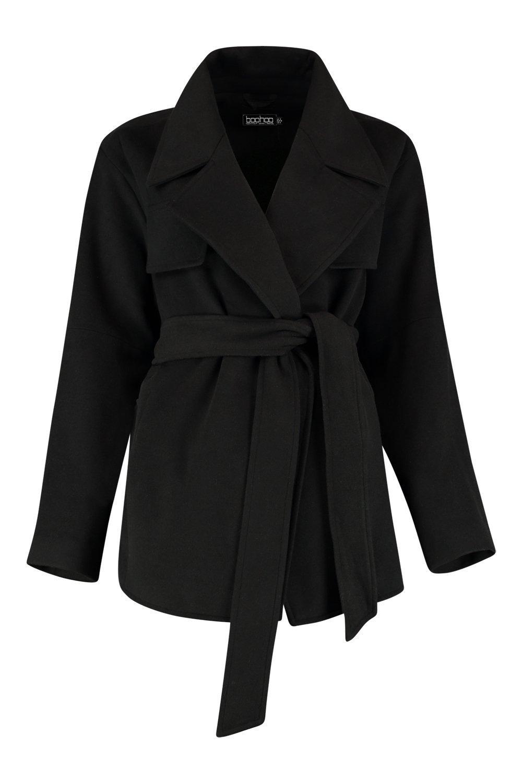 cinturón corto efecto con negro Abrigo y IwgzA
