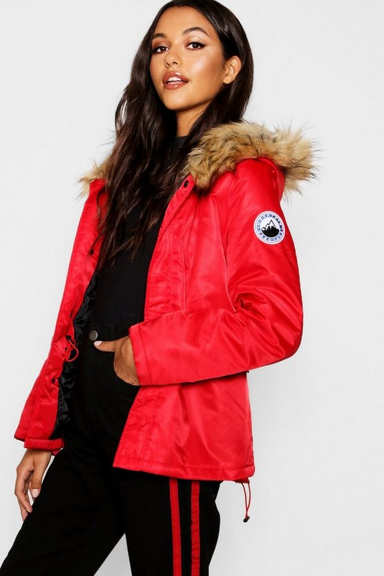 Short Sporty Luxe Faux Fur Parka