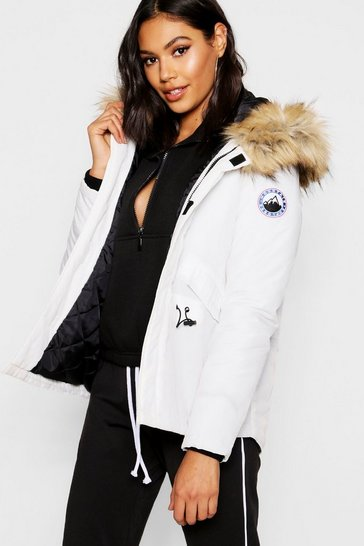 Womens White Luxe Faux Fur Sporty Parka