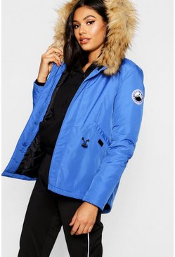 Womens Cobalt Luxe Faux Fur Sporty Parka