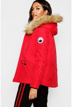Womens Red Luxe Faux Fur Sporty Parka