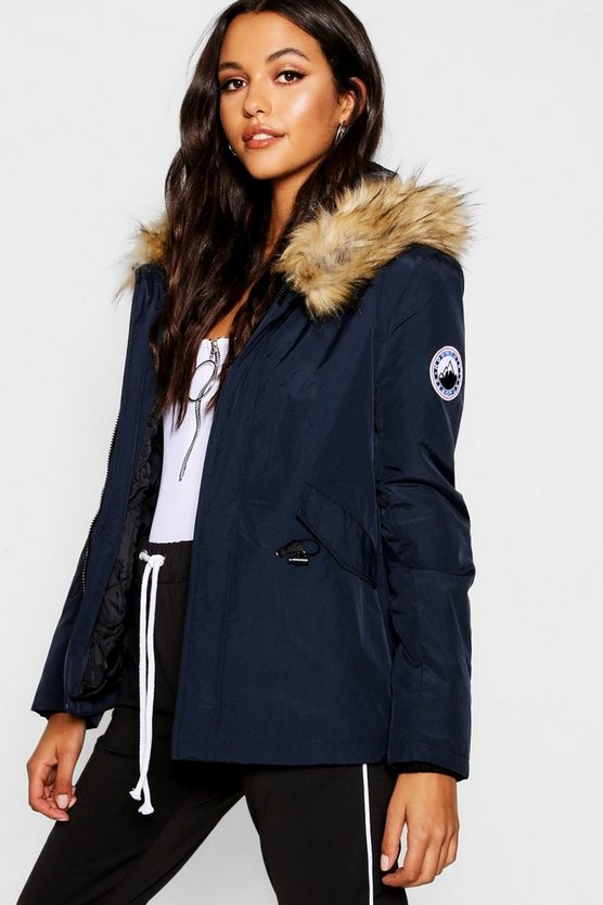Womens Navy Luxe Faux Fur Sporty Parka