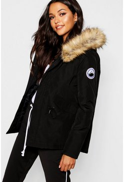 Dam Black Luxe Faux Fur Sporty Parka