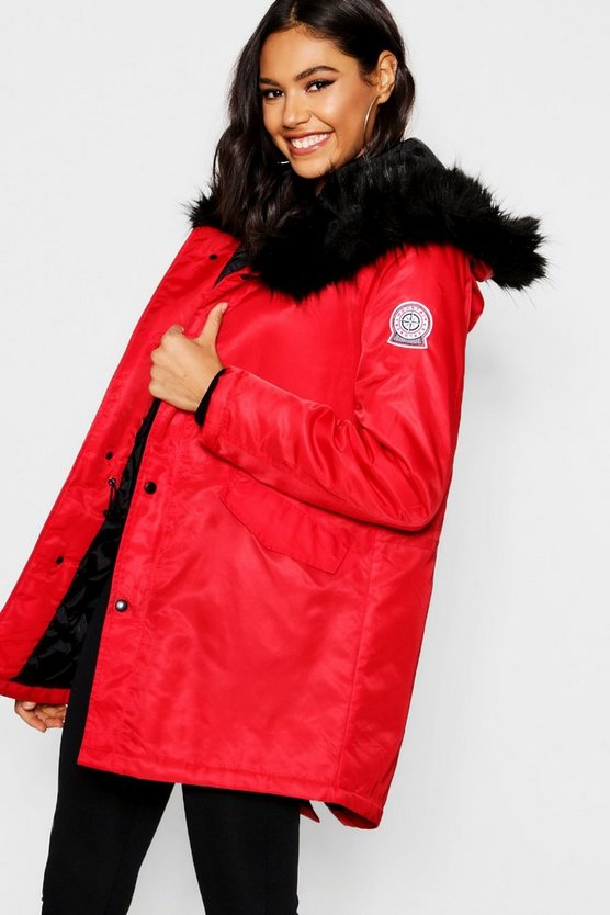 Womens Red Luxe Faux Fur Trim Sporty Parka