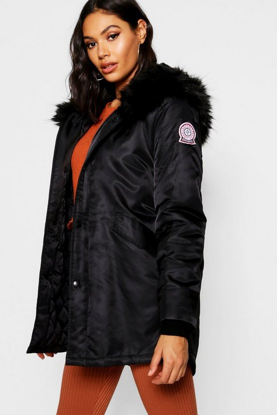 Luxe Faux Fur Trim Sporty Parka