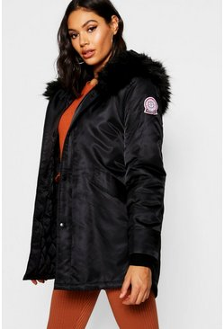 Womens Black Luxe Faux Fur Trim Sporty Parka