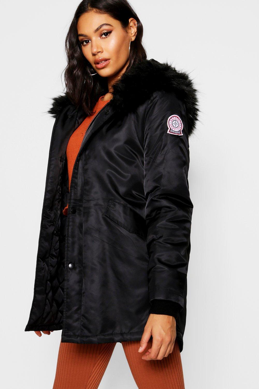 Boohoo con bordo de luxe in sintetica Parka sportivo pelliccia wq8SItq