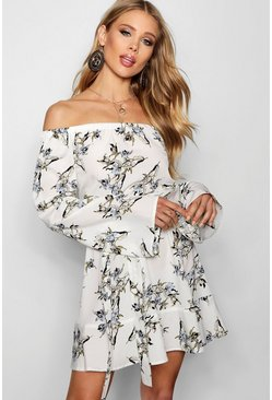 Dam White Off The Shoulder Frill Hem Floral Dress