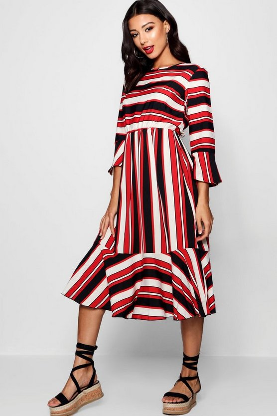Womens Nautical Stripe Ruffle Hem Skater Dress