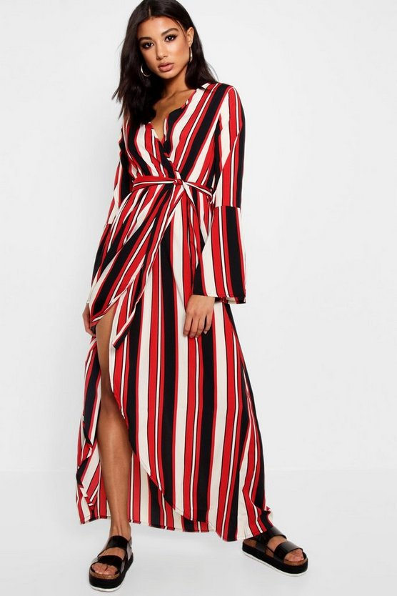 Womens Nautical Stripe Wrap Maxi Dress