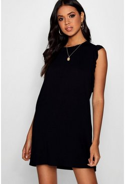Black Ruffle Detail Jersey Shift Dress