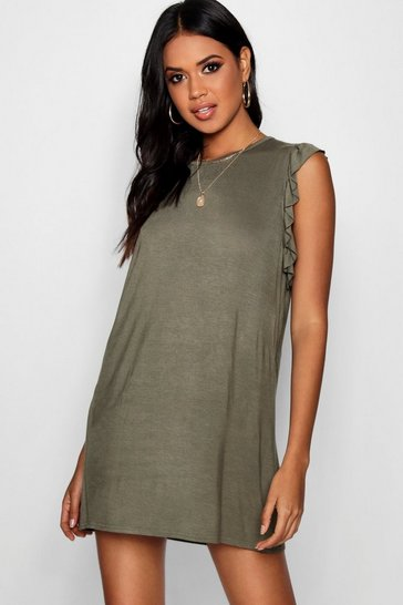 Womens Khaki Ruffle Detail Jersey Shift Dress