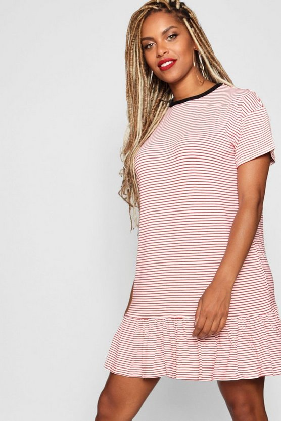 Stripe Ruffle Hem T- Shirt Dress