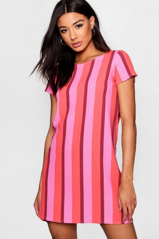 Bold Stripe Relaxed T-Shirt Dress