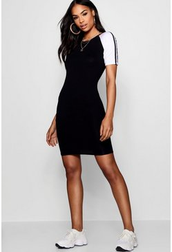Womens Sports Stripe Bodycon T-Shirt Dress