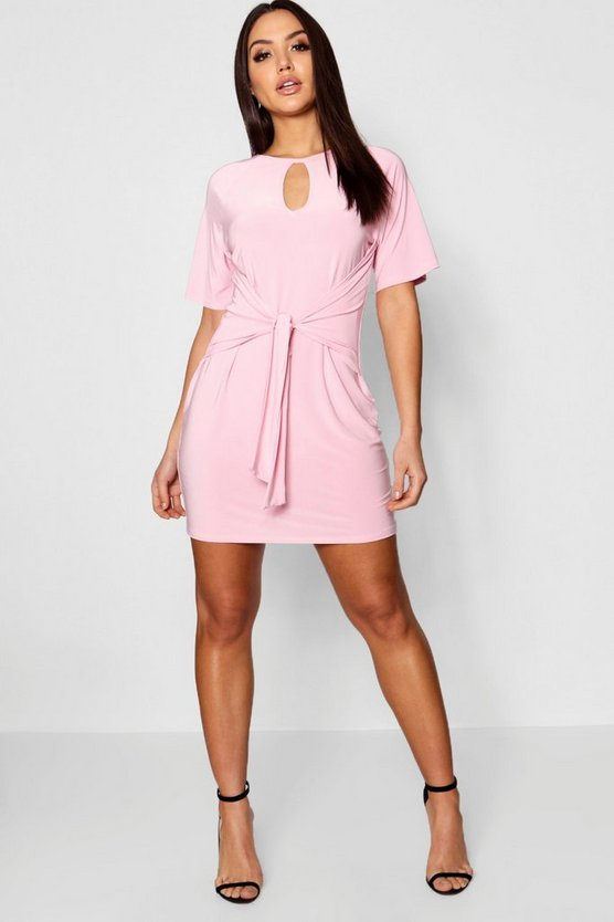 Drape Wide Sleeve Shift Dress