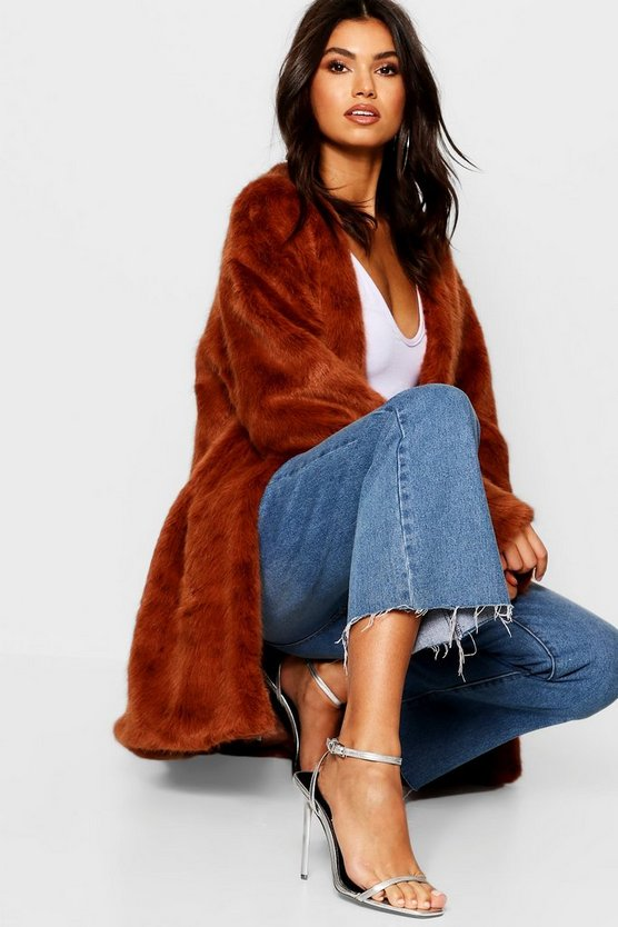 Womens Brown Luxe Collarless Faux Fur Coat